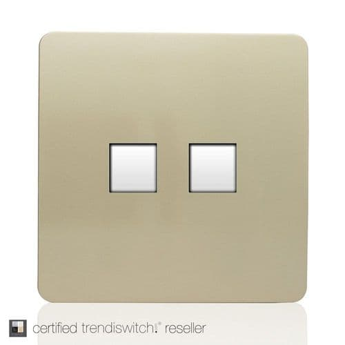 ART-2PCGO Trendi Gold Artistic Modern Twin PC Ethernet Cat 5&6 Data Outlet Champagne Gold